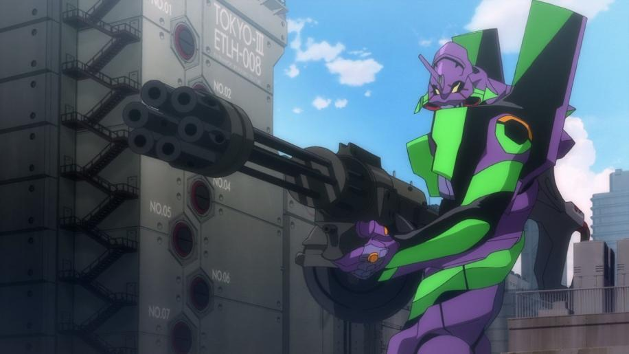 l'eva-01 con in mano un mitra