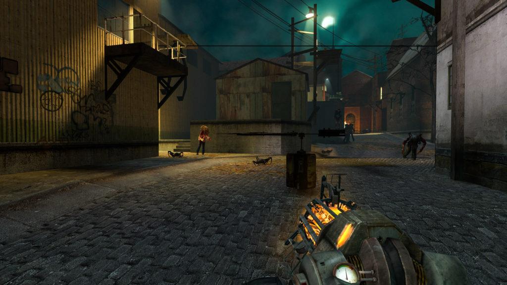 Gordon Freeman attende l'arrivo degli zombie presso una trappola