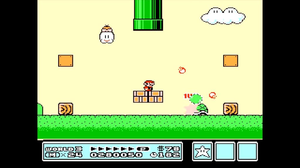 Mario è fermo nel mezzo di due blocchi mentre raccoglie vite extra dopo aver lanciato un guscio.