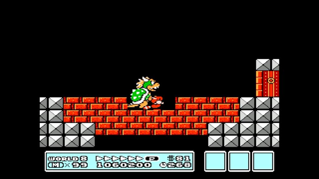 Bowser non può colpire Mario perché si trova sotto in una zona che non può colpire.