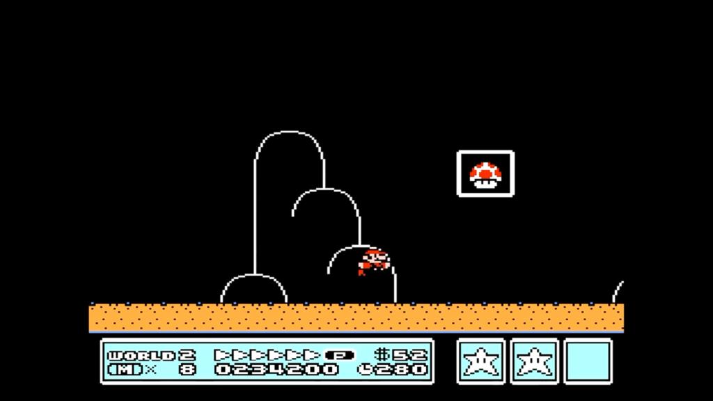 Mario salta alla massima velocità verso il traguardo per ottenere una Carta Stella
