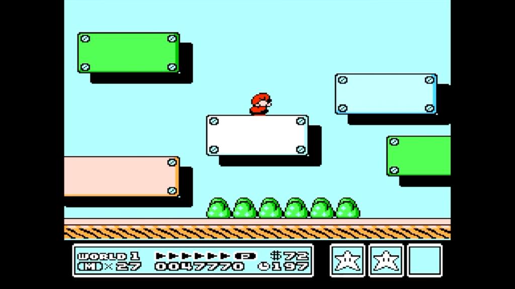 Accucciandosi sul blocco bianco, Mario può accedere sul retro dello schermo ed accedere ad un'area dove Toad lo premierà con un fischietto