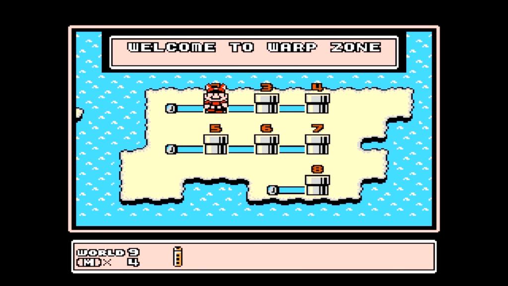 Usando il fischietto nel Mondo 9, Mario potrà accedere al Mondo 8