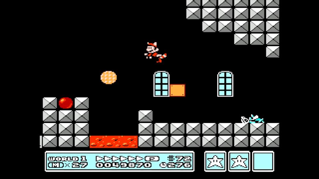 Usando il powerup per volare, Mario può accedere ad un'area segreta sopra lo scenario per ottenere un fischietto