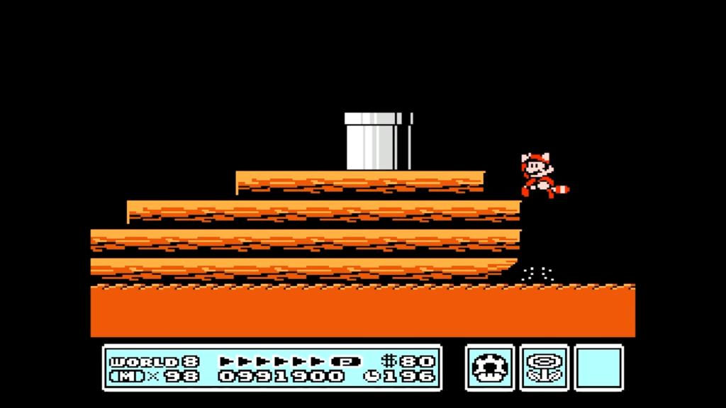 Saltando fuori dall'acqua, Mario può accedere al tubo che lo porterà alla fine del livello.