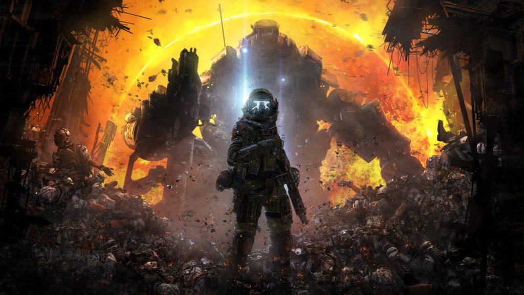 Un soldato di TitanFall con dietro un mech