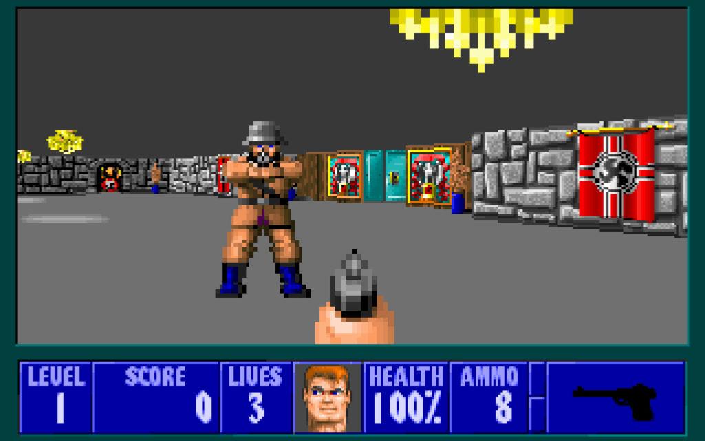 Wolfenstein 3D, Balzkowich punta la pistola ad un nazista