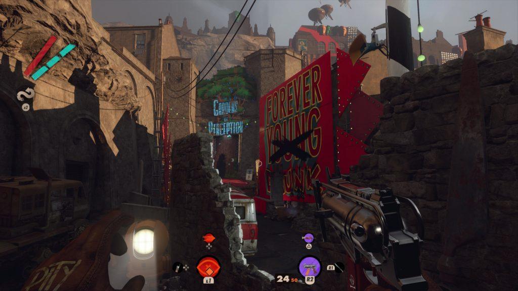 Deathloop  il protagonista si trova in una delle strade del mondo di gioco