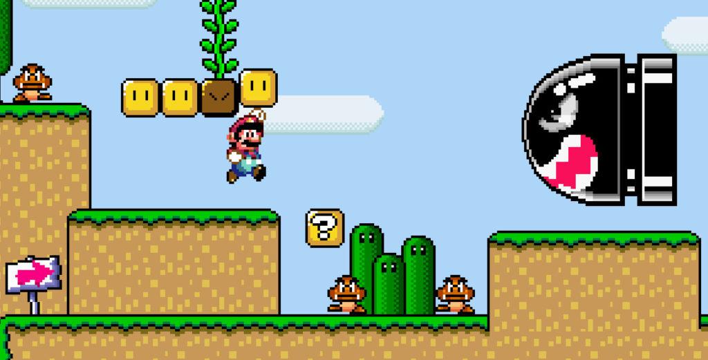 Mario in uno dei vari livelli di Super Mario World