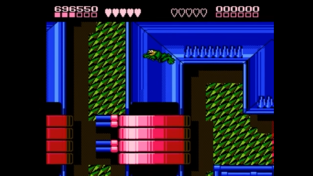 Un Battletoad mentre percorre un livello con un labirinto acquatico