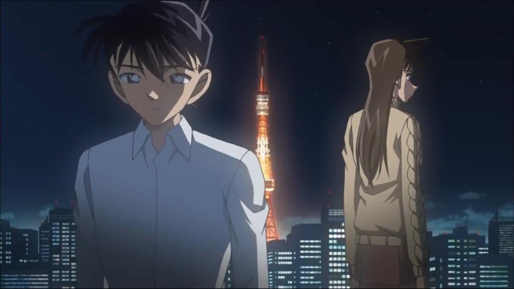 Shinichi è di schiena a Ran, con uno sguardo abbastanza triste