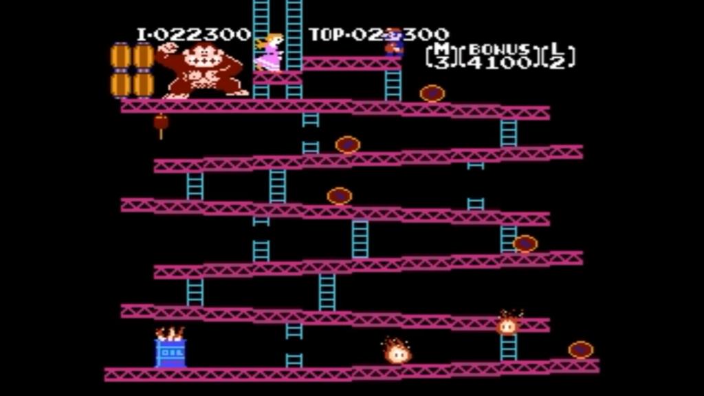 Mario ha raggiunto il piano di Pauline e finito di conseguenza il livello. Si può vedere anche un rabbioso Donkey Kong