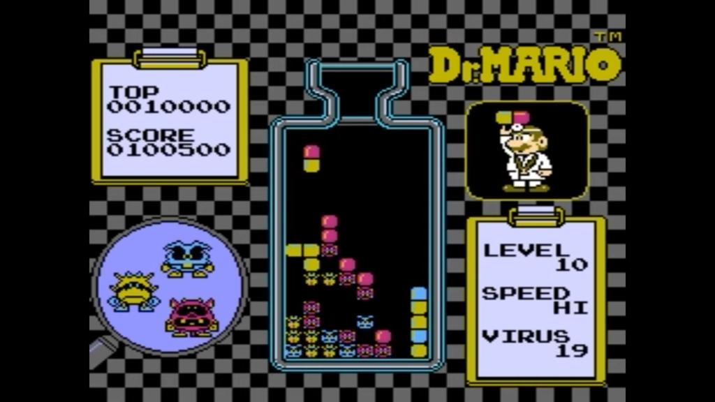 Un livello di Dr. Mario. Si possono distinguere i virus dalle vitamine perché hanno delle faccette buffe