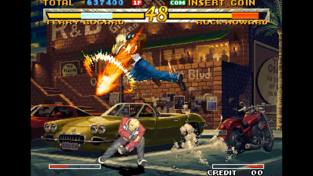 Terry effettua un Power Dunk contro Rock, ma lo manca