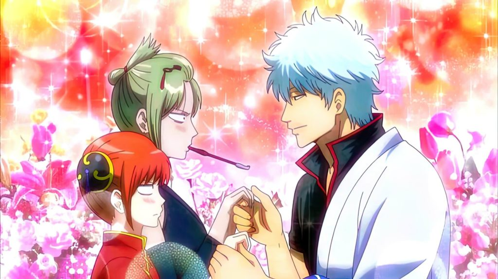 Gintoki prende le mani di due ragazze