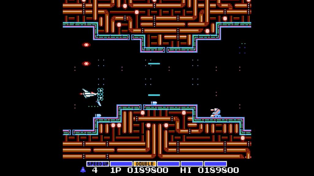 La Vic Viper è abbastanza potenziata con degli scudi e i laser aggiuntivi che facilitano la distruzione dei nemici
