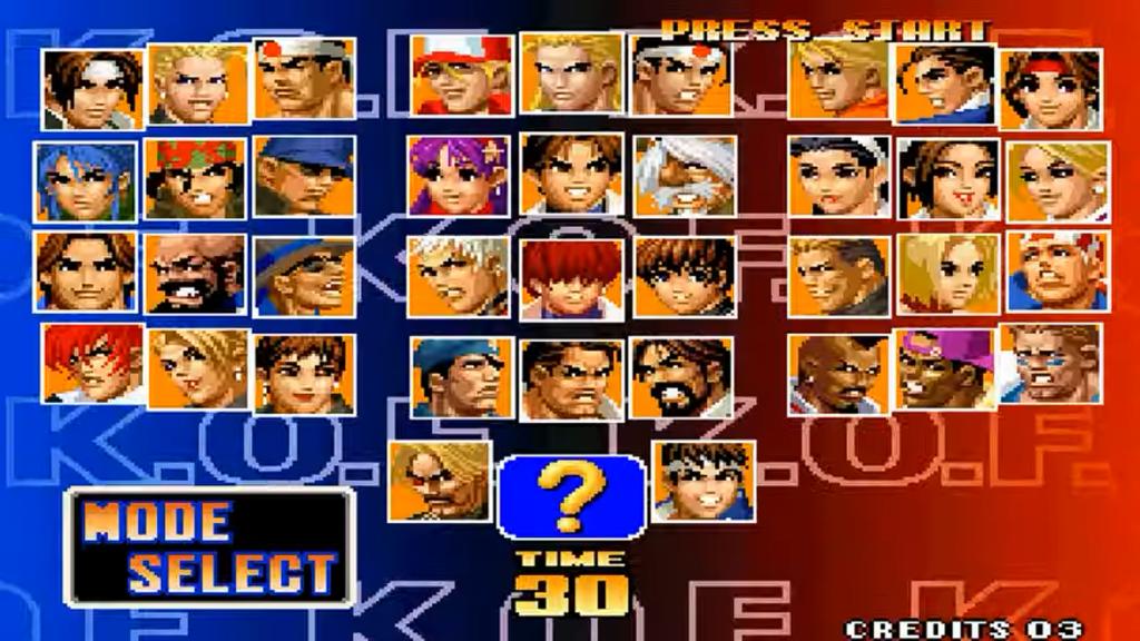 In questa immagine si può vedere l'intero cast di King of Fighters '98