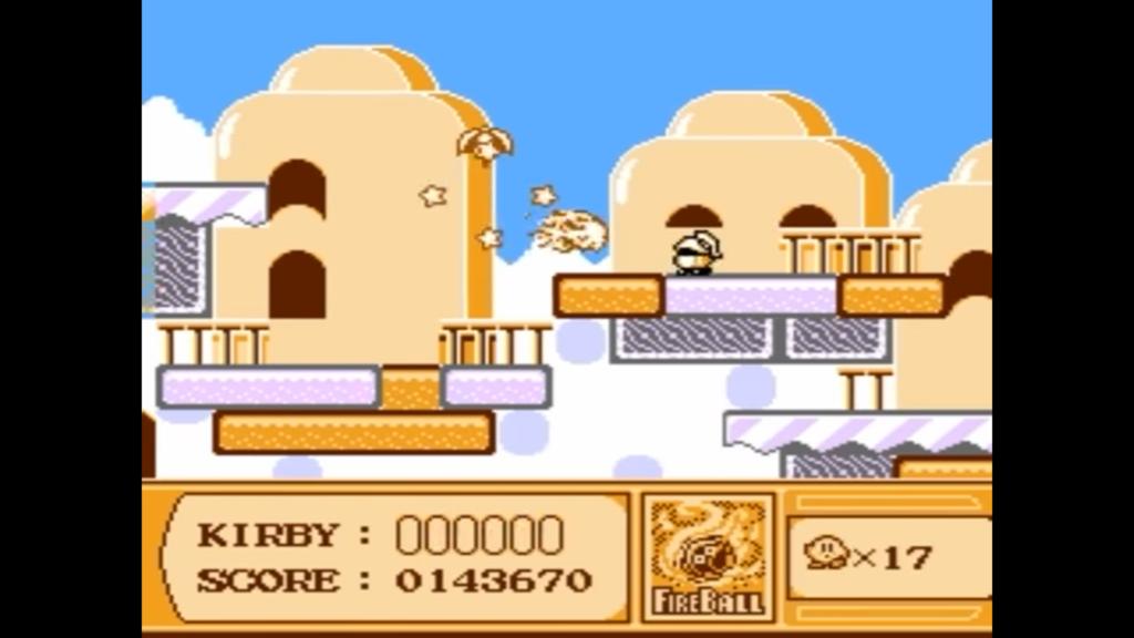 Kirby effettua un attacco di fuoco dopo aver assorbito un nemico con tale abilità