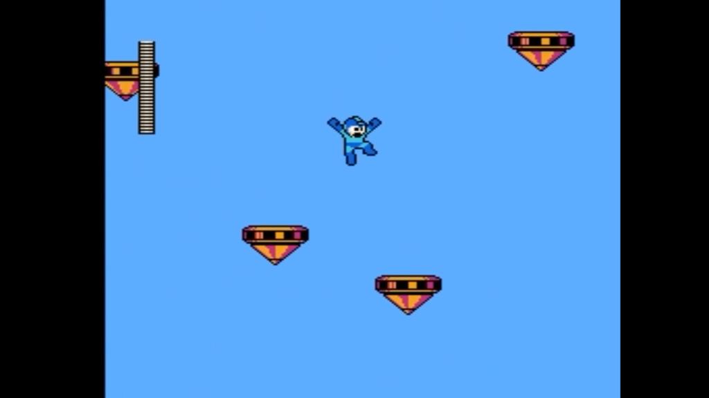 Megaman salta da una piattaforma all'altra