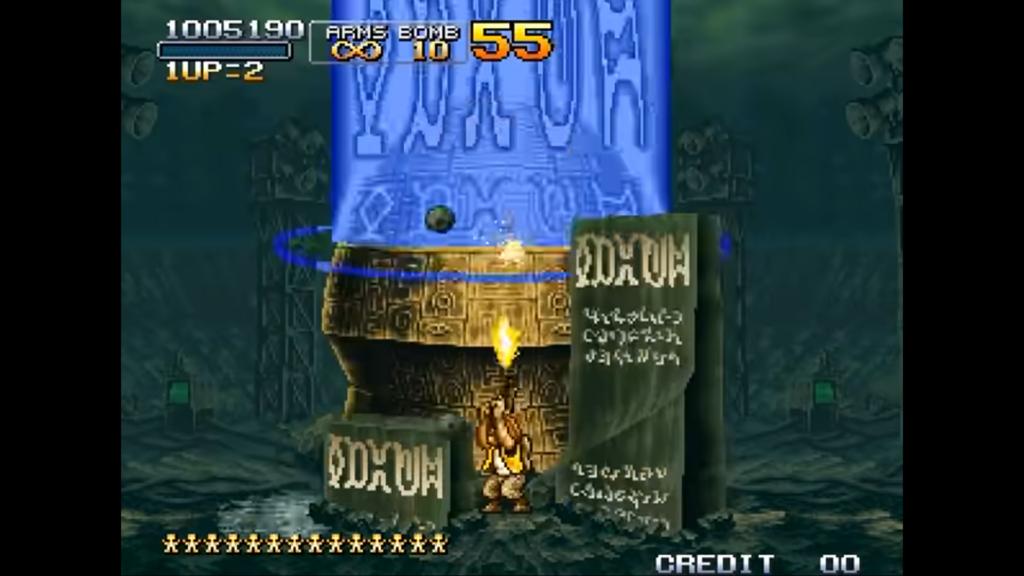 Tarma spara con la pistola sul nucleo del boss del secondo livello, mentre evita le lapidi che gli vengono lanciate dal cielo