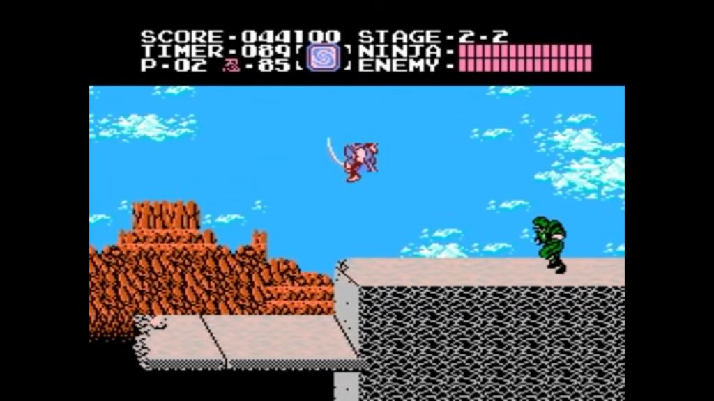 Ryu mentre esegue un salto effettua un attacco avvitato con la spada, sconfiggendo i nemici