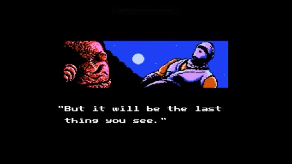 Una delle cutscene presenti in Ninja Gaiden per NES fa vedere un truce Ryu trionfante sopra il nemico sconfitto