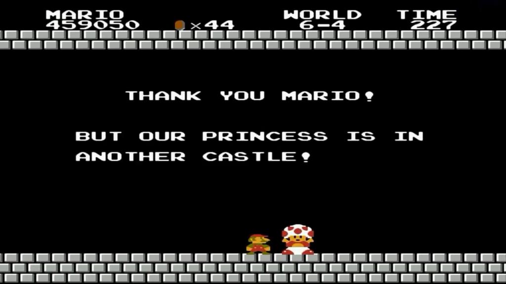 In quest'immagine possiamo notare un delusissimo Mario che trova un Toad al posto della principessa Peach