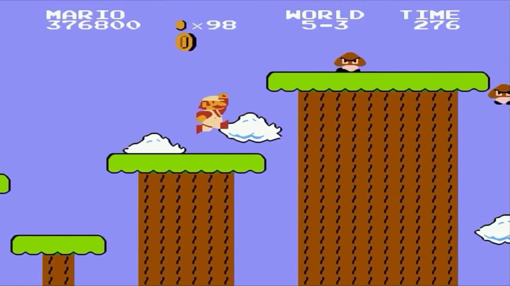 Mario salta da una piattaforma all'altra per superare il livello. Sopra una di queste vi risiedono dei nemici