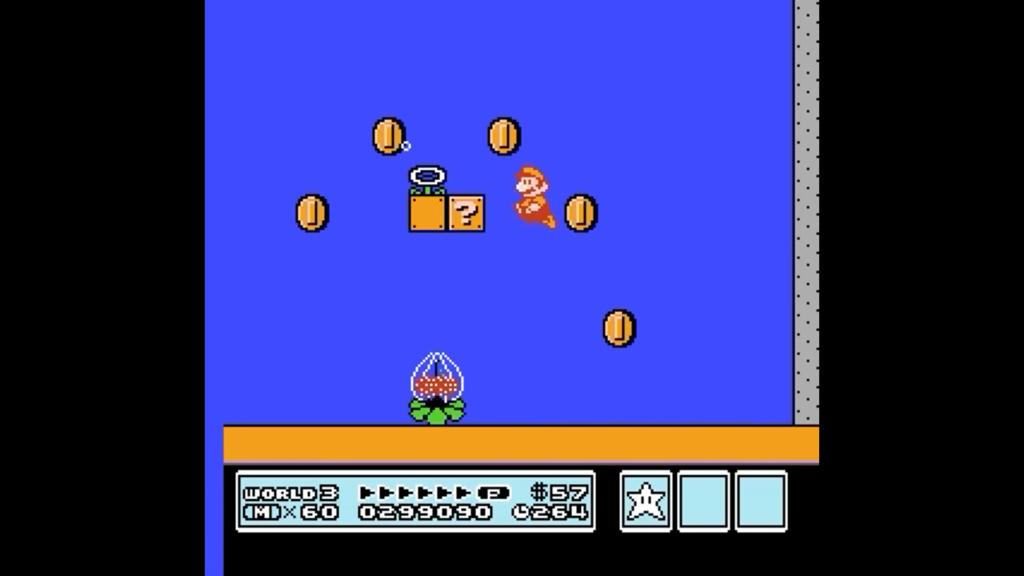 Mario Fuoco è in un livello acquatico che raccoglie monete