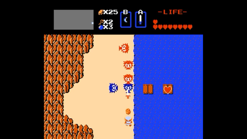 Link è circondato da nemici in questo quadro e attraverso il fiume si riesce ad incrociare un Portacuore