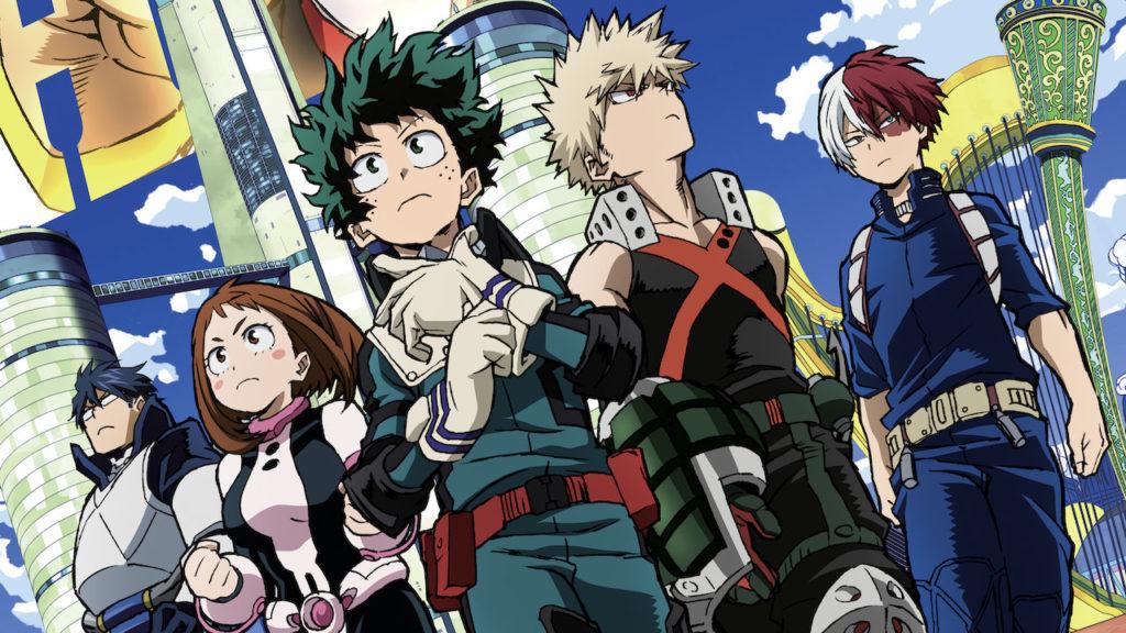 Alcuni dei protagonisti di My Hero Academia, fra cui Deku e Baku