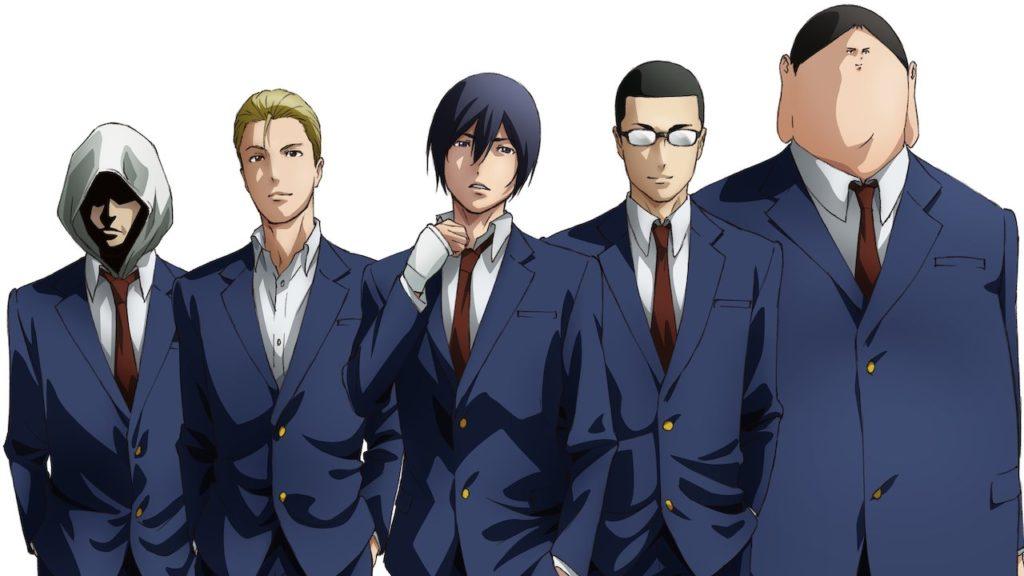 I cinque protagonisti di Prison School in ordine di altezza con uno sfondo bianco